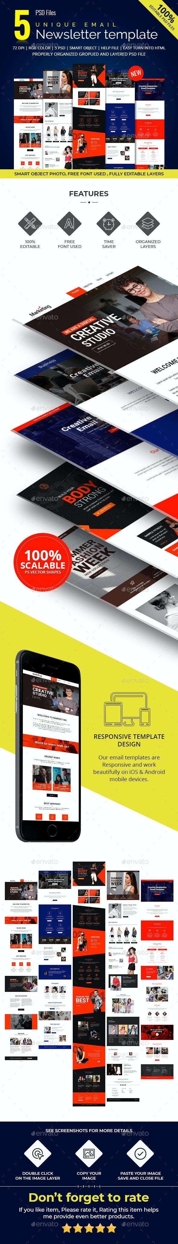 5 Multipurpose E-newsletter PSD Template - E-newsletters Web Elements
