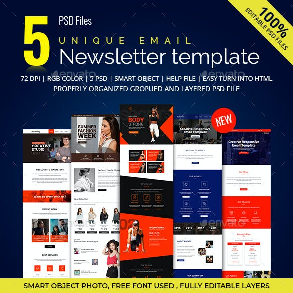 5 Multipurpose E-newsletter PSD Template