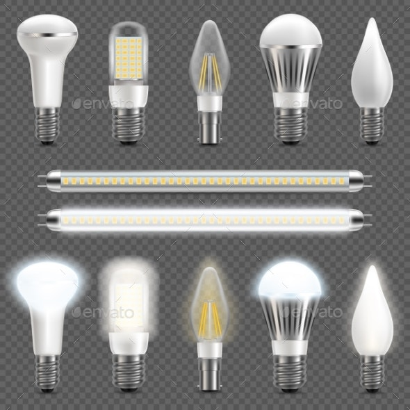 LED Light Bulb Set - Miscellaneous Vectors