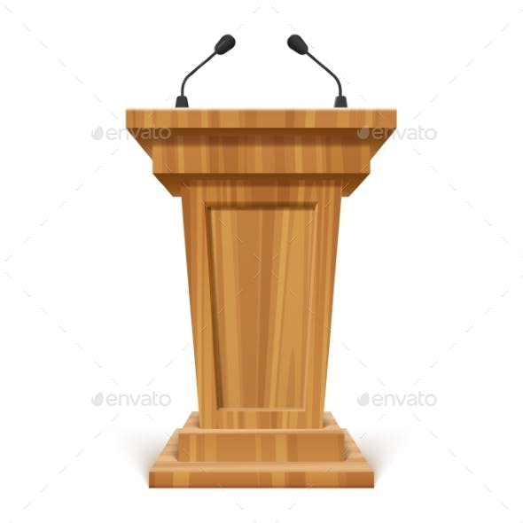 Wooden Realistic Podium or Pedestal