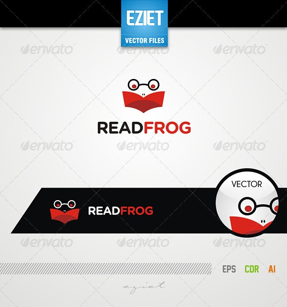 Read Frog Logo - Animals Logo Templates