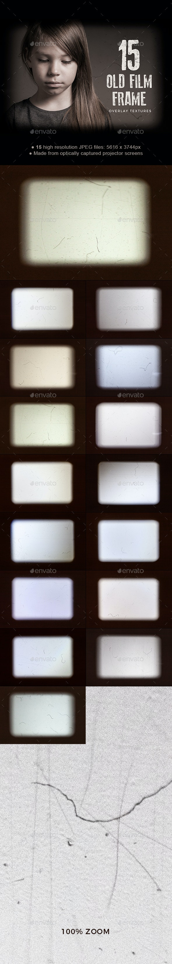 15 Old Film Frame Overlay Textures - Abstract Textures