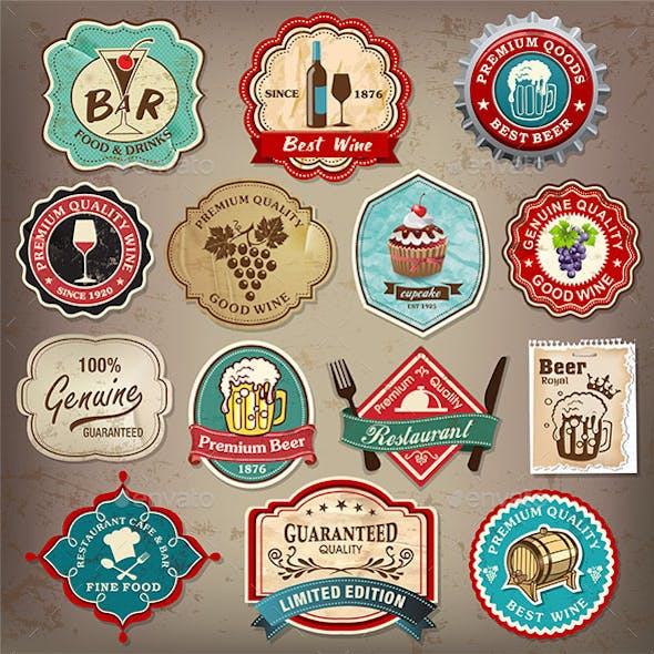 Retro Food Labels Set