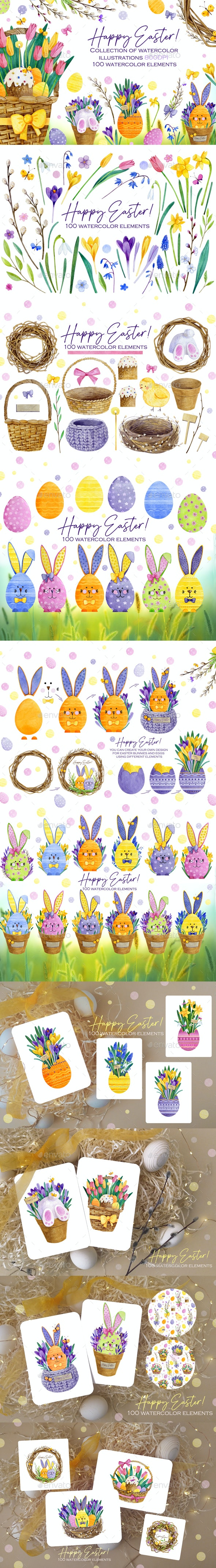 Watercolor Happy Easter Bunnies Collection - Illustrations Graphics