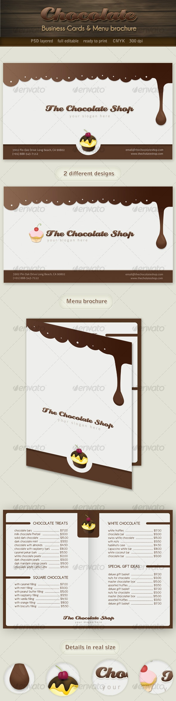 Chocolate business cards and menu brochure