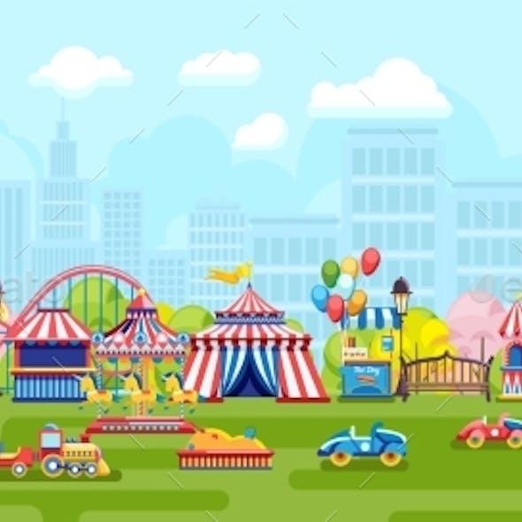 Cartoon Panorama with City Amusement Park
