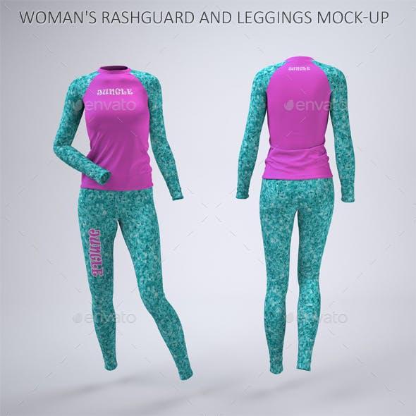 Woman's Rashguard and Leggings Mock-Up