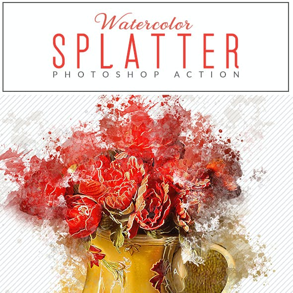 Watercolor Splatter Photoshop Action