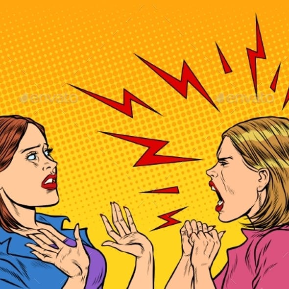 Two Angry Women Scream