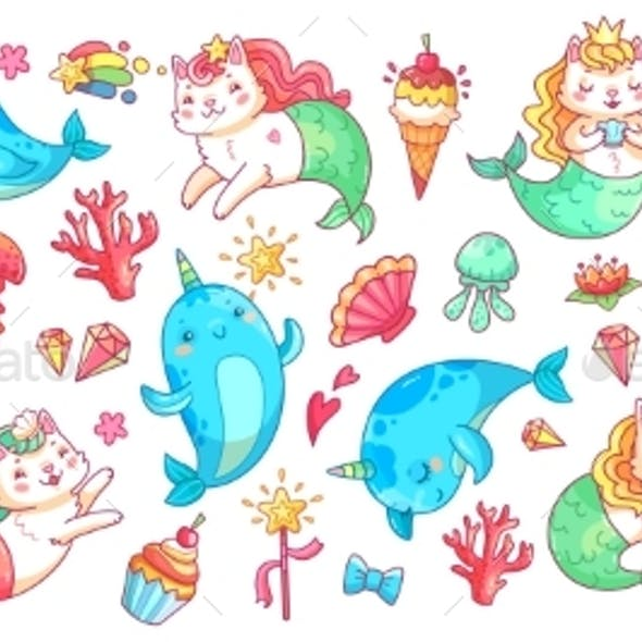 Unicorn Narwhal and Mermaid Cat