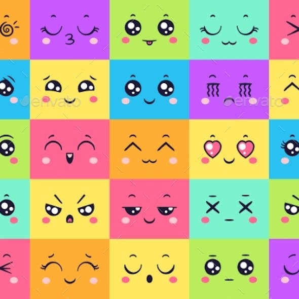 Colored Faces Collection Emoticon Emotion