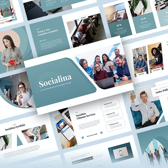 Socialina - Social Media Marketing PowerPoint Template