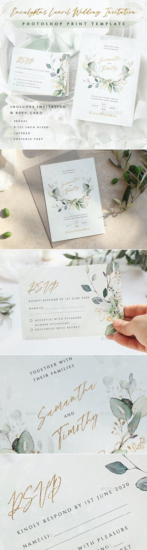 Eucalyptus Laurel Wedding Invitation - Weddings Cards & Invites