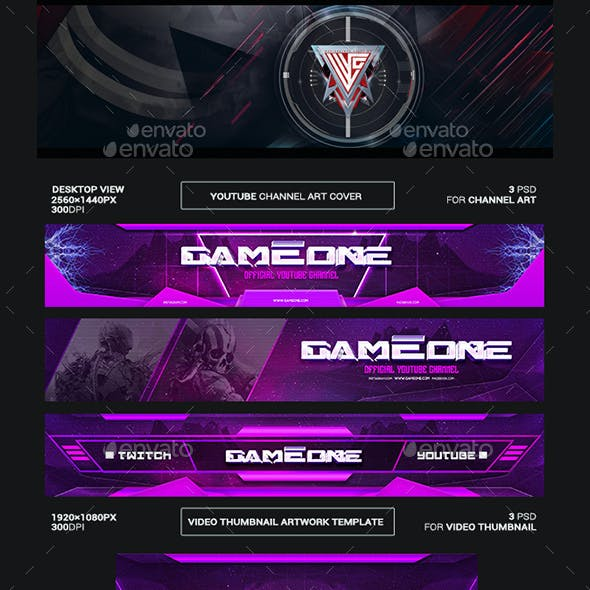 Game One Youtube Channel Art/Video Thumbnail and Ending Video Template