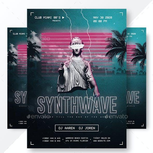 Synthwave Retrowave Flyer & Instagram Banners