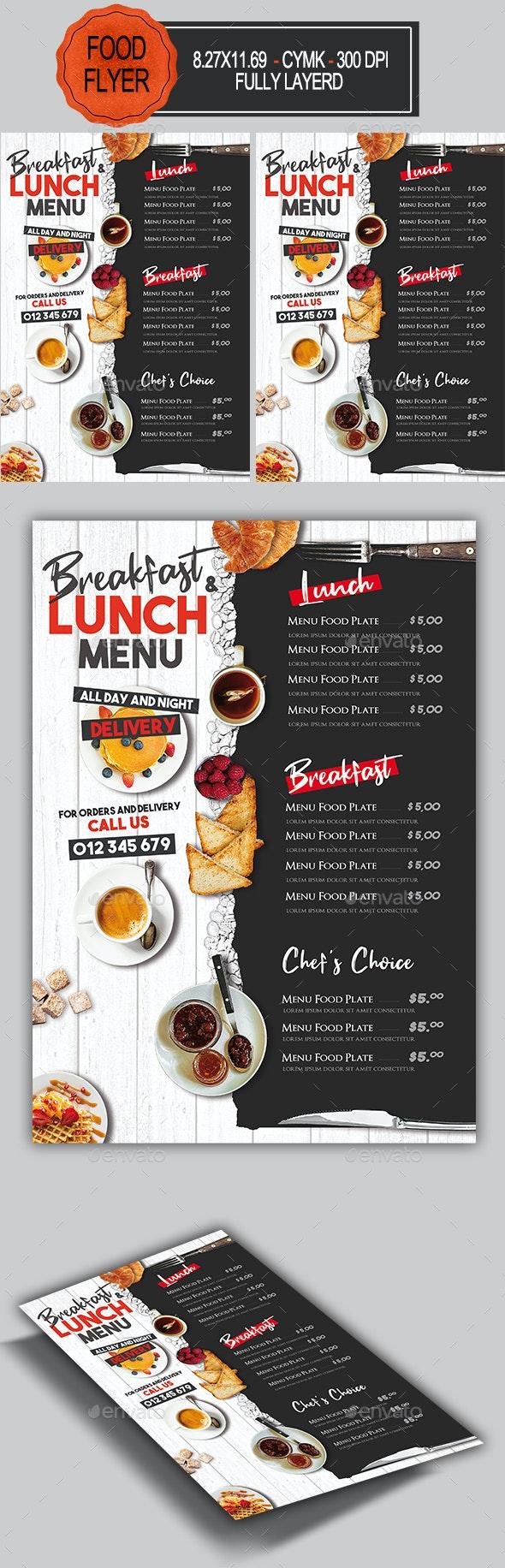 Breakfast Lunch Menu Delivery - Restaurant Flyers
