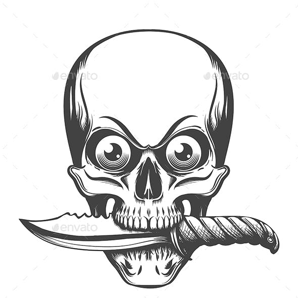 Skull with Eyes and Knife