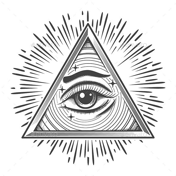 All Seeing Eye in Triangle Freemasonry Symbol