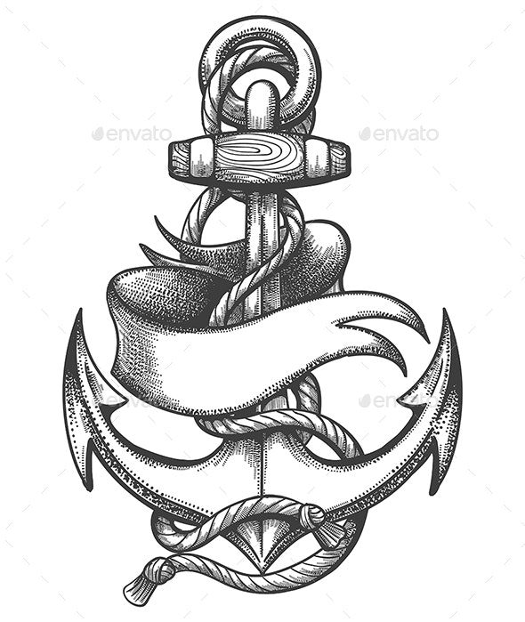 Ship Anchor And Ribbon Old School Tattoo By Olena1983 Graphicriver
