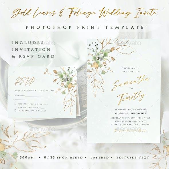 Gold Leaves & Foliage Wedding Invitation