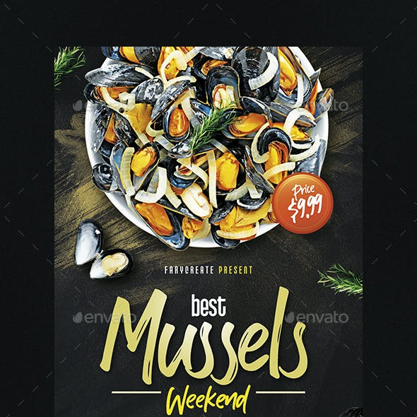 Mussels Seafood Flyer Template