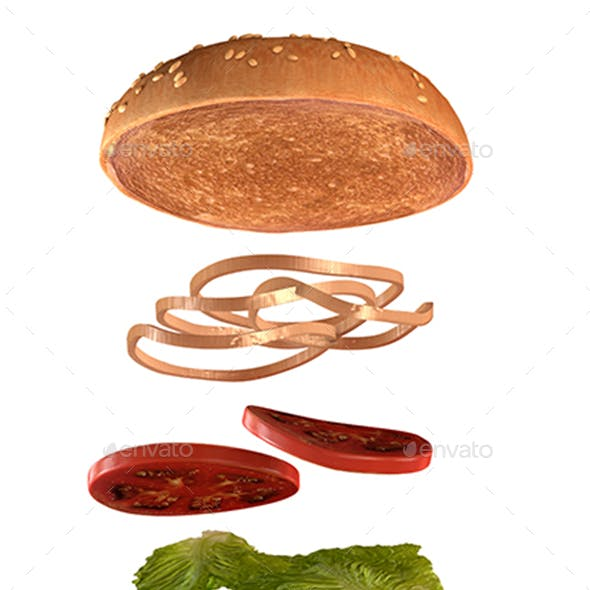 Delicious Burger With Flying Parts
