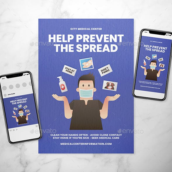 Prevent Corona Illustration Flyer + Social Media Set