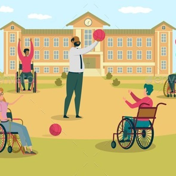 Teacher Playing Basketball with Kid in Wheelchair