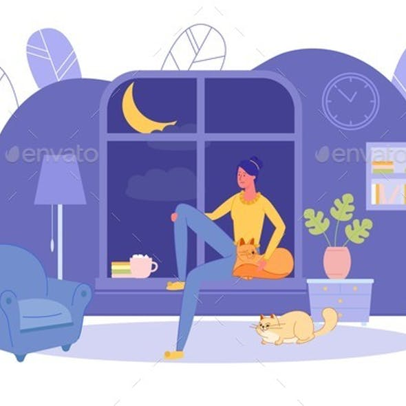 Girl Alone at Home Sit on Windowsill in Evening.