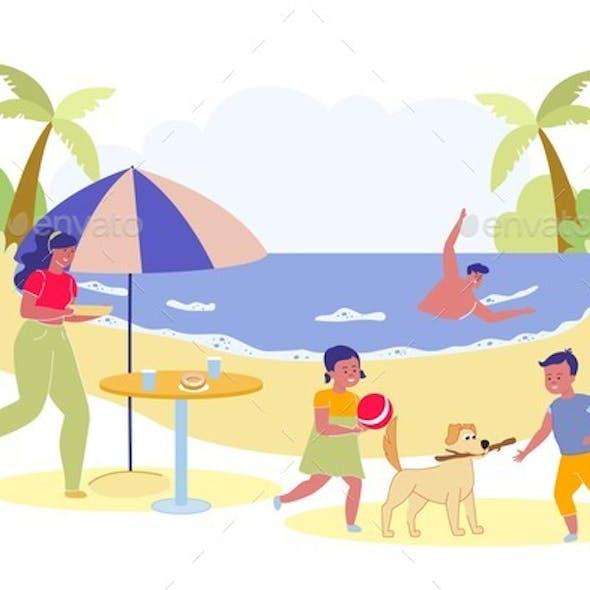 Family Picnic Scene on Tropical Sea Coast Backdrop