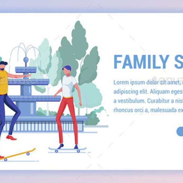 Family Sport, Father Learn To Ride on Skateboard.