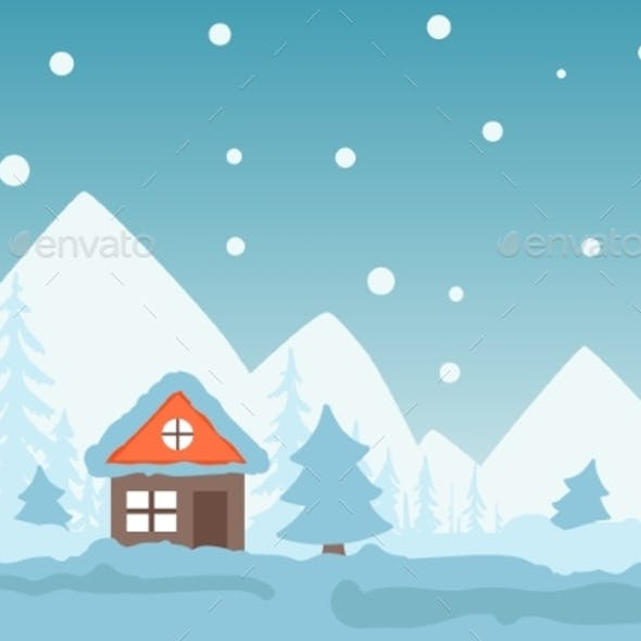 Winter Scene with Cozy Cottage in Mountains, Snowy