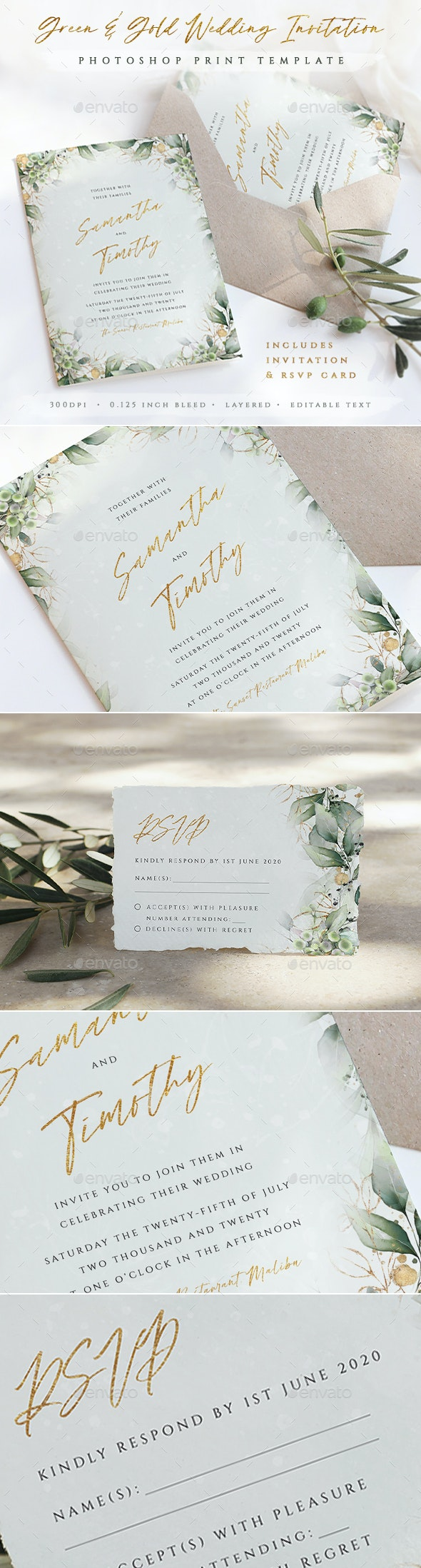 Green and Gold Wedding Invitation Template - Weddings Cards & Invites