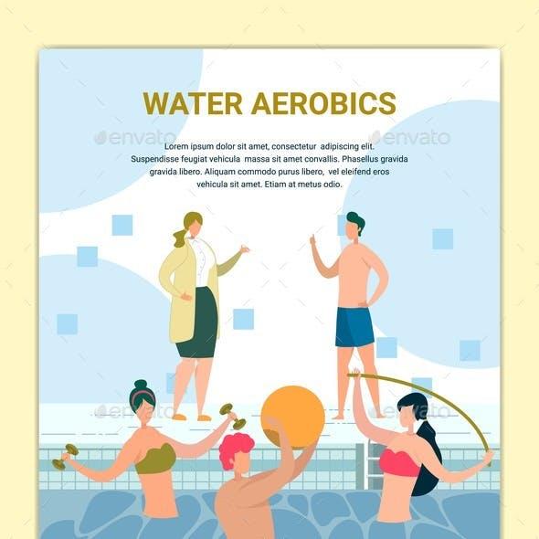 Water Aerobics Class in Swimming Pool Poster.