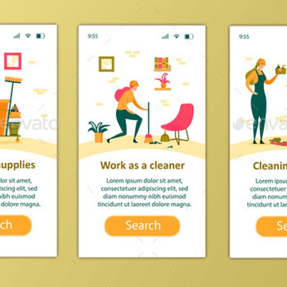 Cleaning Service Occupation Mobile App Page Set