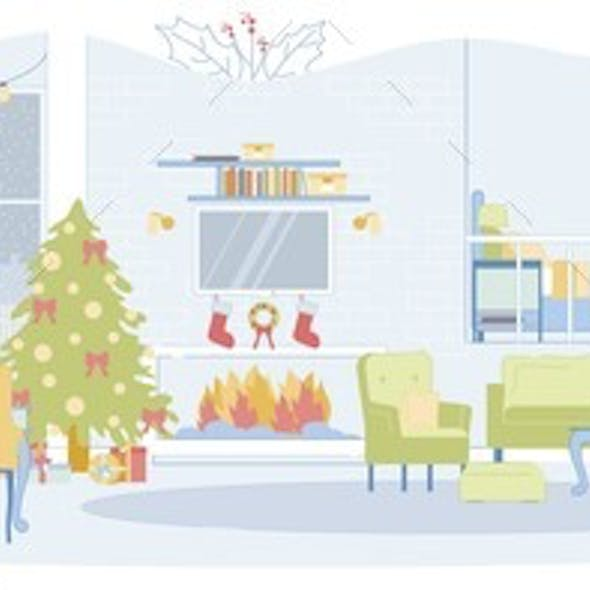 Christmas Eve in Spacious Loft Style Living Room