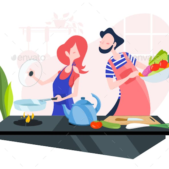 Young Couple Cooking Together In The Kitchen