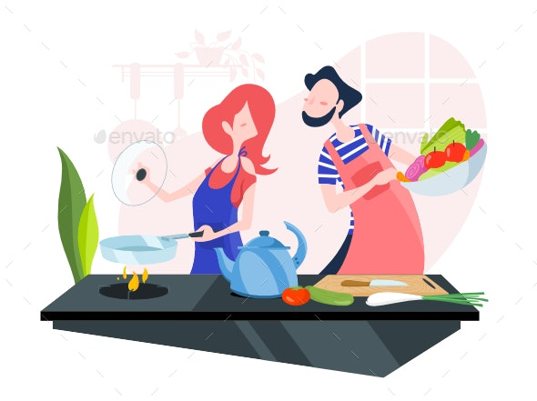 Young Couple Cooking Together In The Kitchen By Creativezeune Graphicriver