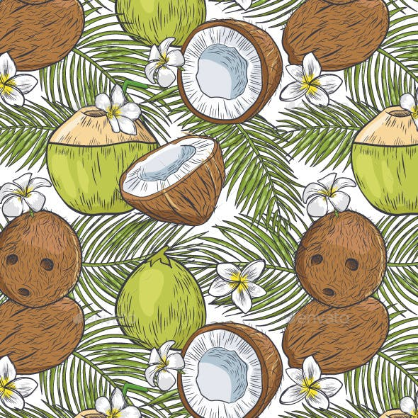 Coconut Tropical Seamless Pattern
