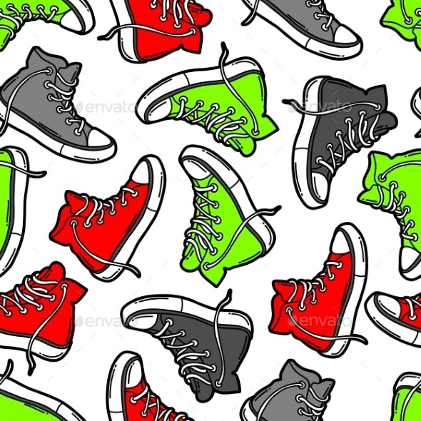 Seamless Pattern with Cartoon Sneakers
