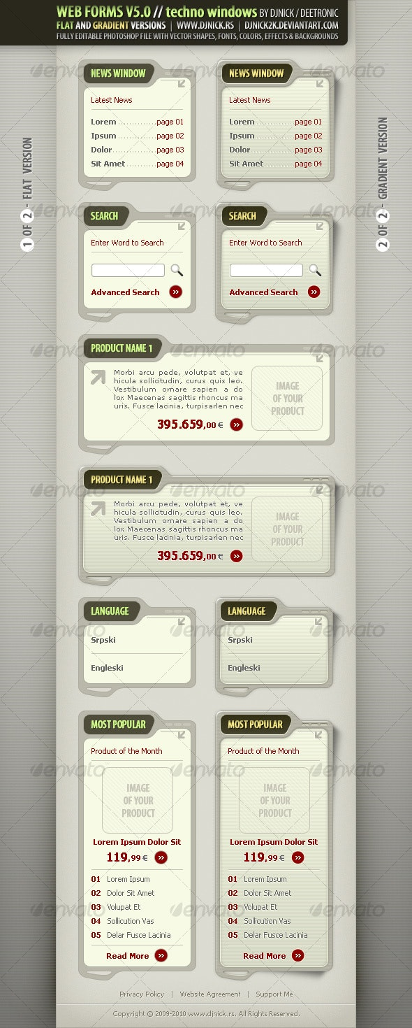 Web Forms and Elements in Olive / Military style - Forms Web Elements