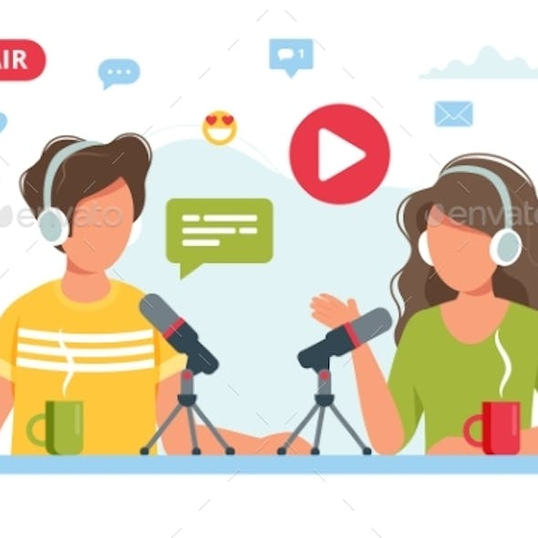 People Talking To Microphone Recording Podcast