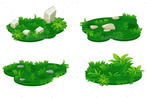 Set of Isometric Platforms Island of Grass - Landscapes Nature