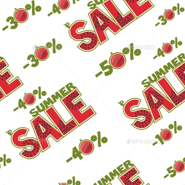Seamless Pattern of Inscriptions in the Watermelon - Backgrounds Decorative