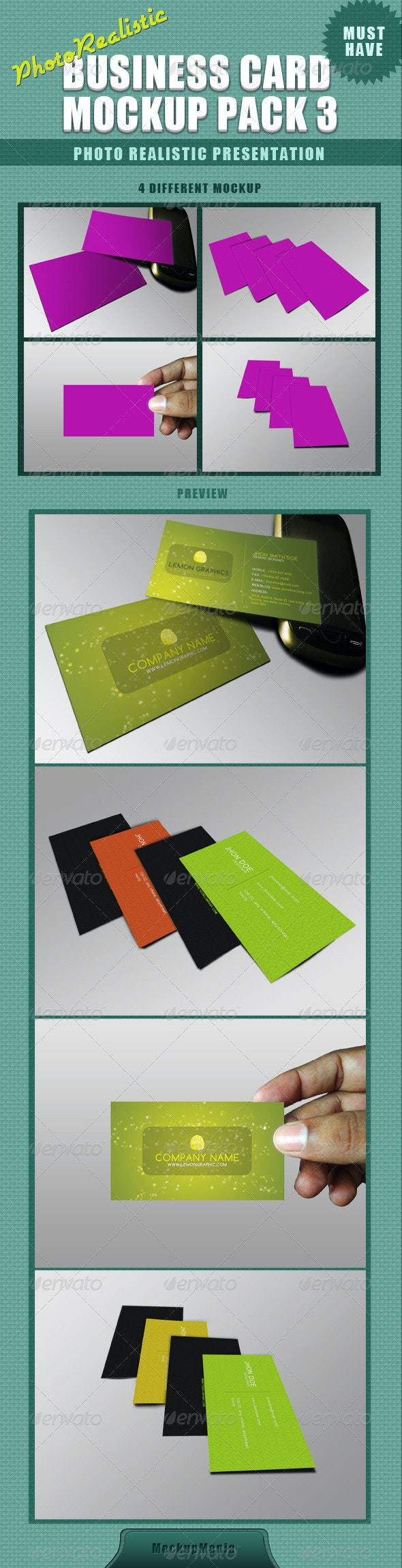 Photorealistic Business Card Mockup - 3 - Business Cards Print