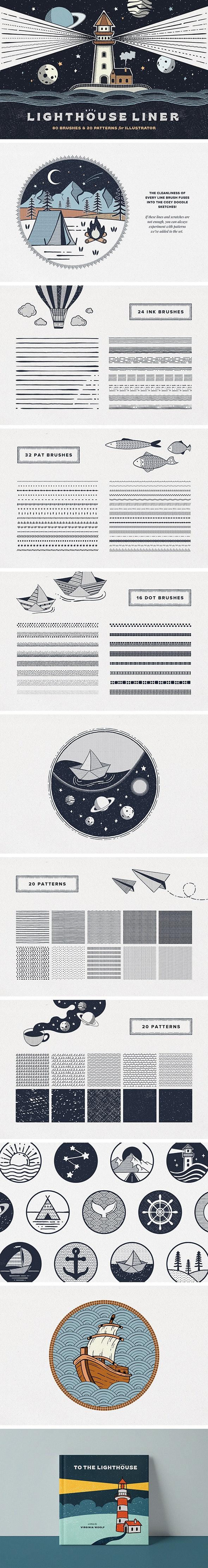 Lighthouse Liner Illustrator Brushes - Brushes Illustrator