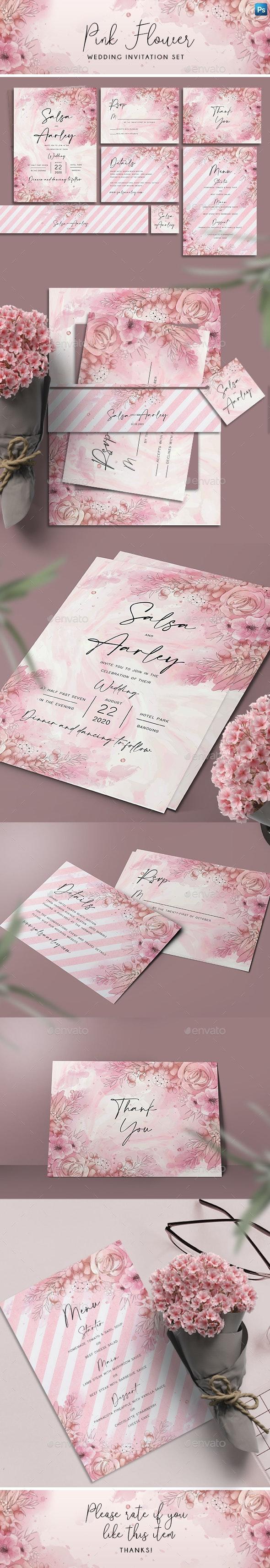 Pink Flower Wedding Invitation Set - Weddings Cards & Invites