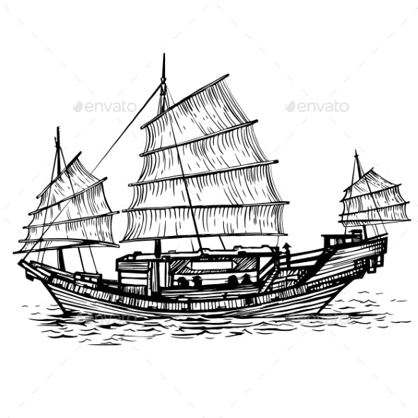 Black and White Vector Illustration of Ship