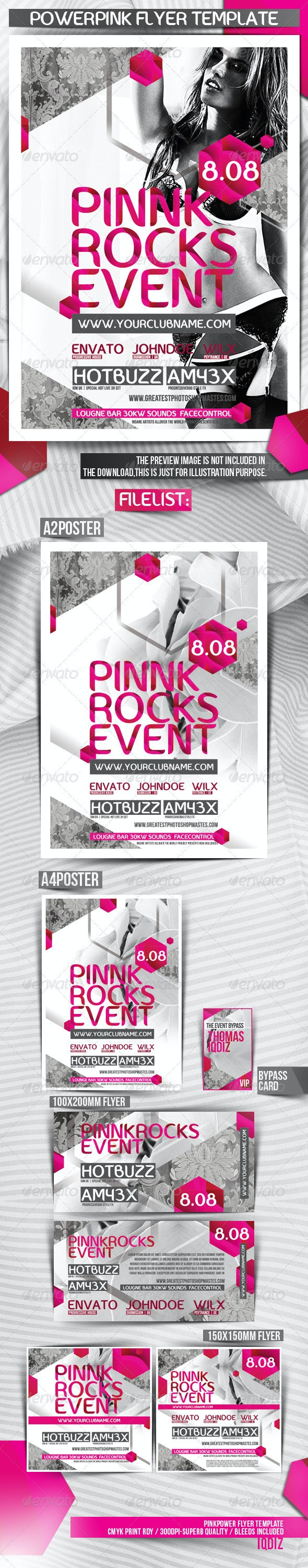 Powerpink Party Flyer Template - Clubs & Parties Events