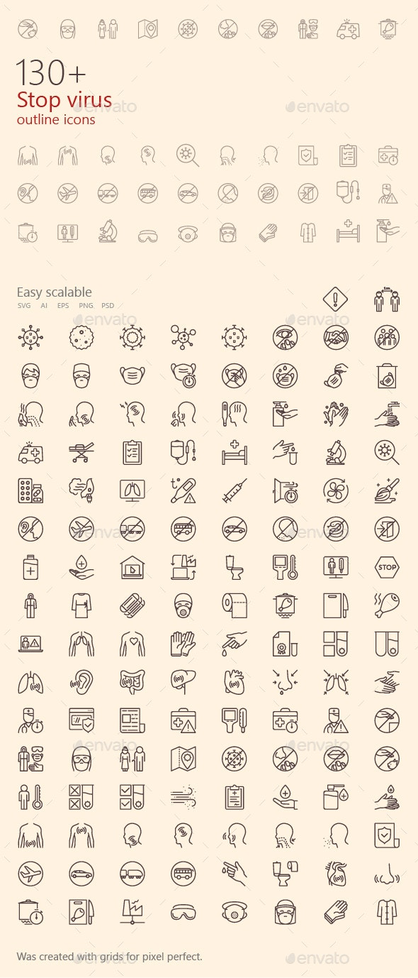Stop Virus Outline Iconset - Miscellaneous Icons
